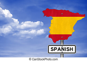 Road sign with the map of Spain