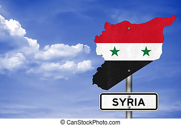 Road sign with the map of Syria
