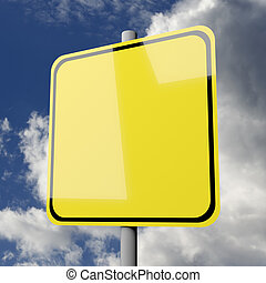 Road sign yellow blank on blue sky background