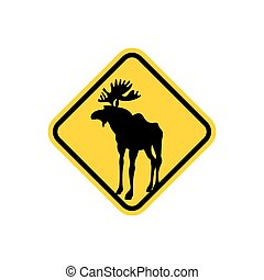Road sign yellow deer, Moose. Vector pointer Attention animal. Wild animal may be on  road.