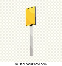 Road sign yellow square icon, cartoon style