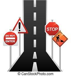 road signal design - road signal graphic design , vector...