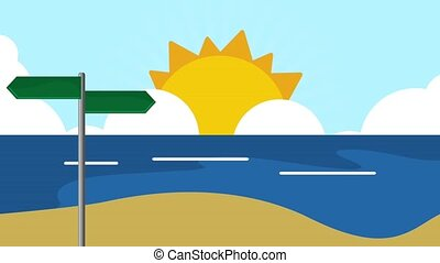 Road signpost on beach HD definition