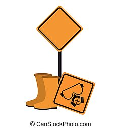 Road signs and construction boots