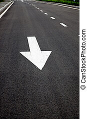 Traffic Signal, go straight signs arrows on asphalted surface