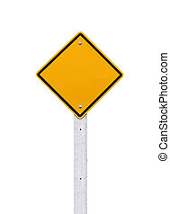 Road signs,  Blank yellow warning with isolate on white backgrou