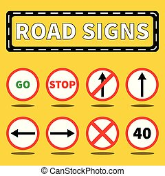 Road signs collection set