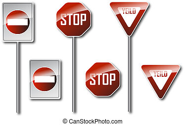 Road Signs  - Do Not Enter / Stop / Yield
