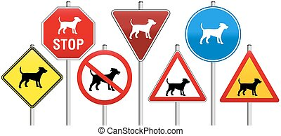 Road Signs Dogs - Seven traffic signs concerning dogs, like...