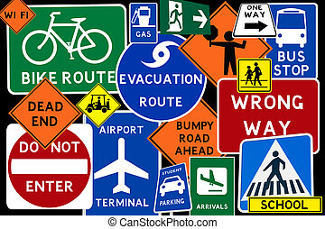Road Signs - A colorful  montage of traffic road signs
