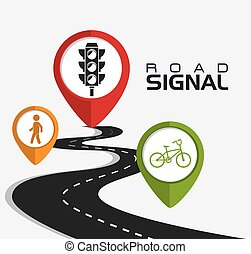 Road signs. - Road signals over white background, vector...