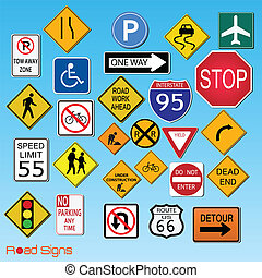 Road Signs - Image of various road signs against a blue sky...