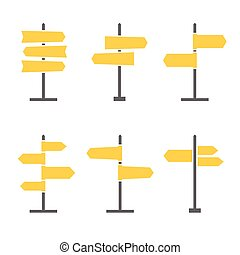 Road Signs Flat Icon Set