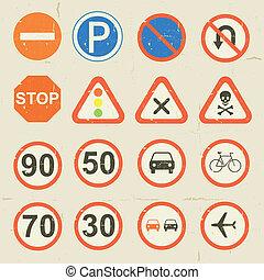 Road Signs Grunge Retro Set