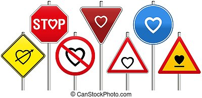 Road Signs Hearts Love Rules Traffic Regulations