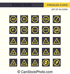 Road signs icons set vector