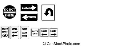road signs in black and white - a set road signs in black...