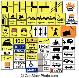 Road signs in Poland. Complementary plates. Vector Format