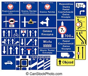 Road signs in Poland. Complementary signs. Vector Format
