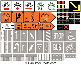 Road signs in Poland. Cycleway signs, Traffic signals, Road markings. Vector Format