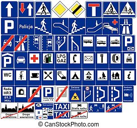 Road signs in Poland. Informational signs. Vector Format