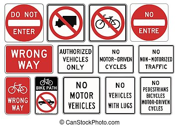 Road signs in the United States. R5 Series Exclusionary. Vector Format