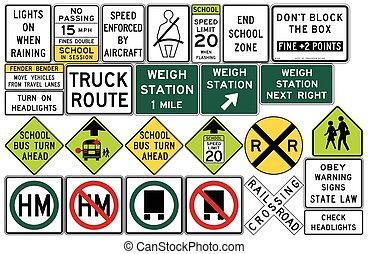 Road signs in the United States. Weigh Stations, Truck Routes, Rail and Light Rail, Seat Belts and Headlight Use, Other Local and State Series, Schools. Vector Format