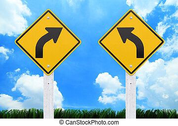 Road signs, on blue sky background