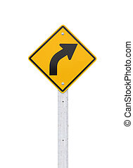 Road signs,  right curve isolate on white background. (Clipping
