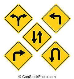Road Signs Set Yellow Vector