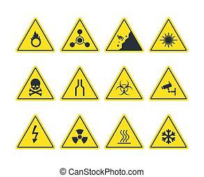 Road signs set. Yellow warning symbols danger of loose soil radioactive alarm lethal electrical voltage ice deposit ahead biological hazard strong ultraviolet radiation. Vector attention.