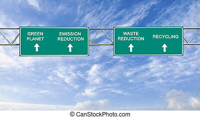 road signs to green planet