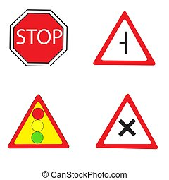 Road signs. Vector illustration on white background