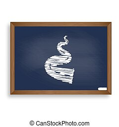 Road simple sign. White chalk icon on blue school board with sha