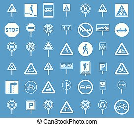 Road sings icon blue set vector