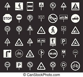 Road sings icon set grey vector