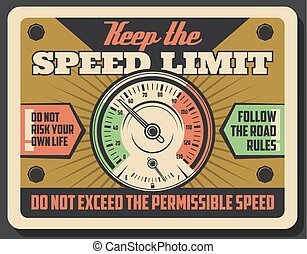 Road speed limit and car speedometer