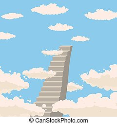 Road, stairs to heaven, sky, clouds, Christianity, vector, isolated, cartoon style