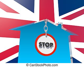 road stop sign in home icon textured by britain flag