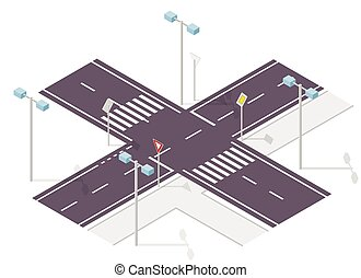 Road, street traffic, info graphic, junction crossway on...