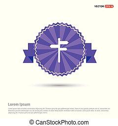 Road Symbols Icon - Purple Ribbon banner
