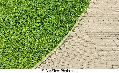 road., textura, erva daninha, fundo, crescendo, tijolo