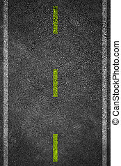 Road texture with two white stripes and dashed yellow stripe