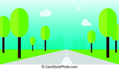 Road through a city with tree and flat style vector illustration