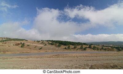 Road through Ai-Petri plateau in the Crimean mountains...