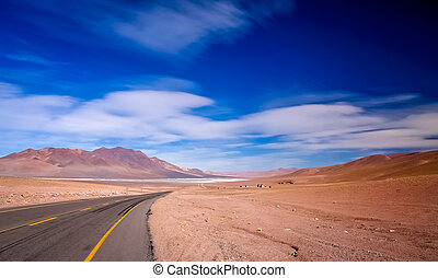 Road through chilean Altiplano - Road leading to the big...