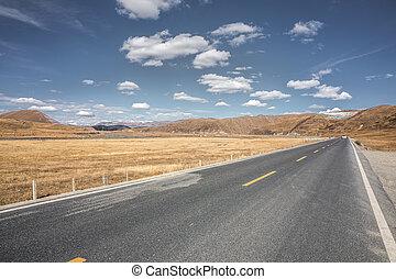 road through grassland of China