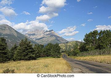 Road through Rocky Mountain foothills - Waterton Lakes National