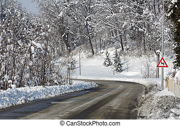 Road through snowy forest. Piedmont, Italy. - Gray curved ...
