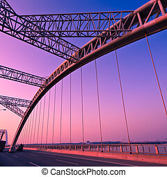 bridge - road through the bridge with blue sky background of...